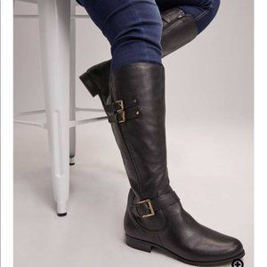 Naturalizer Jessie Black Leather Riding Boot